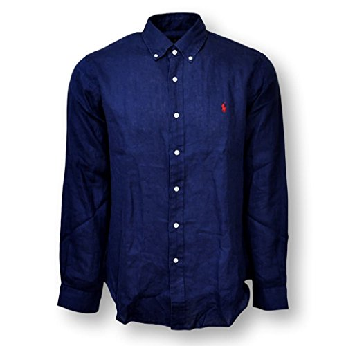 Polo Ralph Lauren Herrenhemd Button Down Leinenhemd Leinen Hemd dunkelblau  Größe L 0039b79e8f