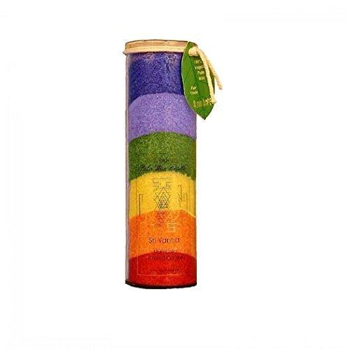 Palm wax Candle, Sri Yantra, Multi Colour Chakra Candle, 17 oz by Aloha Bay