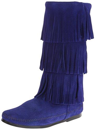 Minnetonka Womens 3 Layer Fringe Boot Blue Violet Size 8