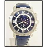 Oskar Emil Men's Chamonix Blue Chronograph Watch with Leather Strap