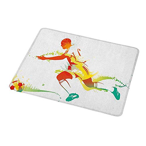 Natural Rubber Mouse Pad Teen Room,Young Man Playing Soccer Football Athlete Game Win Champion Paintbrush Artwork,Standard Size Rectangle Non-Slip Rubber Mousepad 9.8