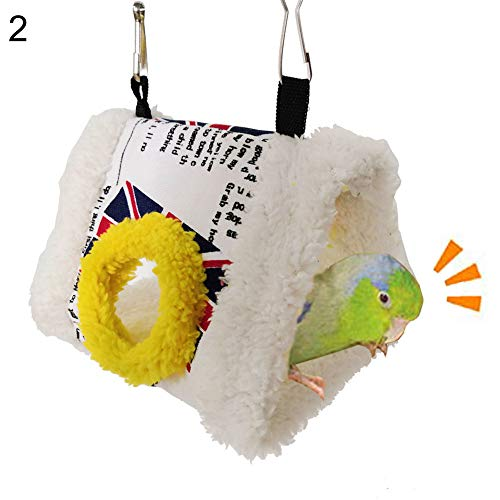bromrefulgenc Bird Cotton Hammock,Triangle Square Plush Nest Bird Parrot Hanging Cave Hammock Cage Warm Bed Toy 2#