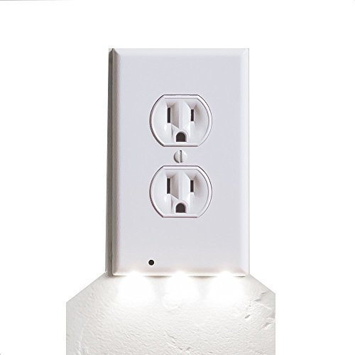 Cover Bedroom Outlet (YHXK Duplex Wall Power Outlet Plate Cover with Lighted Sensor Guidelight- Wireless LED Night Lights Guiding Lighting for Baby Kids Adults -Auto Turns On/Off (Duplex, White))