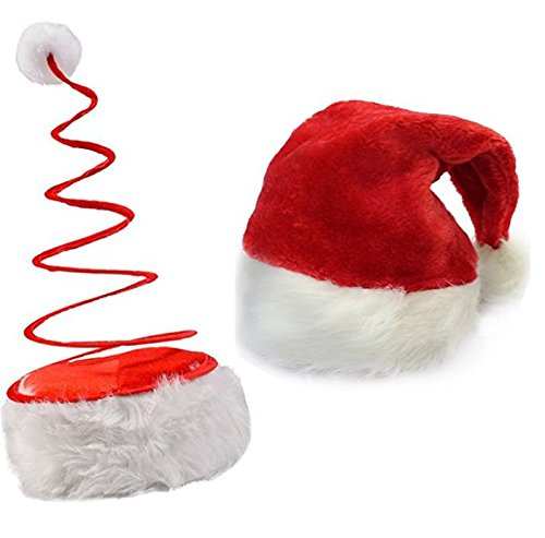 Funny Christmas Hats. This Winter Theme Red Plush Santa Claus & Coil Unique Hats Set Of 2 For Teens & Adults. Best Costume Accessory Ideas For X-mas Holiday Style & Fun Party At Home, Office & (Home Costumes Ideas)