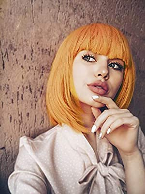 Leeons Wigs For Women 12 Short Hair Wig Cosplay Daily Halloween Costumes Party Wigs Golden Orange Straight Bob Wig With Bangs Buy Online At Best Price In Uae Amazon Ae