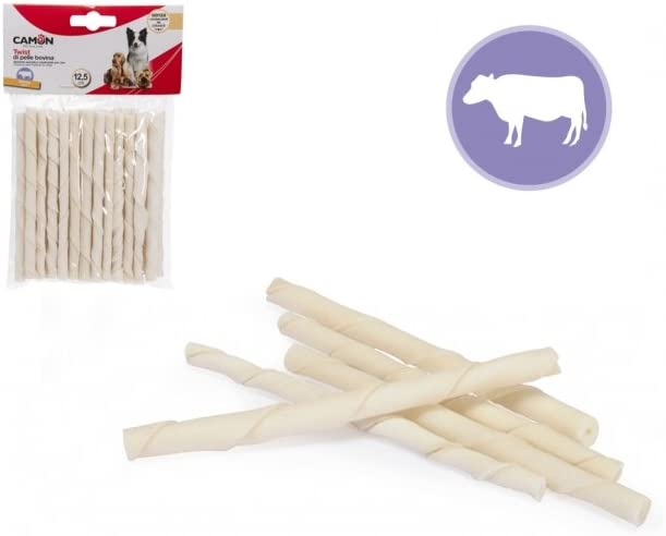 Camon Twist di pelle bovina snack per cani 25pz 125g