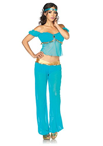 [Leg Avenue Disney 3Pc. Princess Jasmine Costume, Aqua, Medium] (Halloween Jasmine Costume)