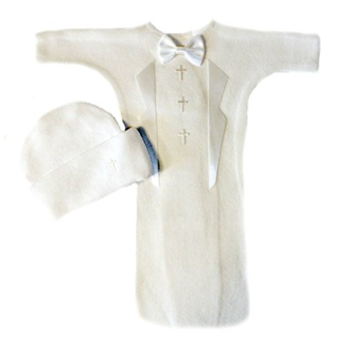 Jacqui's Baby Boys' White Tuxedo Bunting Gown Set with Crosses, - Baby Handmade Bunting