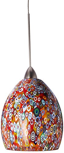 Quick Connect Pendant - WAC Lighting QP515-MF/BN Fiore Quick Connect Pendant with Millefiori Shade and Brushed Nickel Socket Set