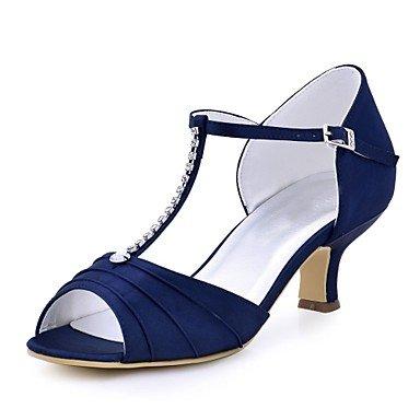 El mejor regalo para mujer y madre Mujer Zapatos Satén Elástico Verano Pump Básico Zapatos de boda Tacón Cuadrado Punta abierta Cristal Hebilla para Boda Vestido Negro Azul , us10.5 / eu42 / uk8.5 / c