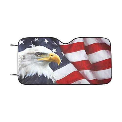 - InterestPrint Waving American Flag with Bald Eagle Auto Front Windshield Sun Shade Folding Sunshade for Car SUV 55 x 29.5 Inch