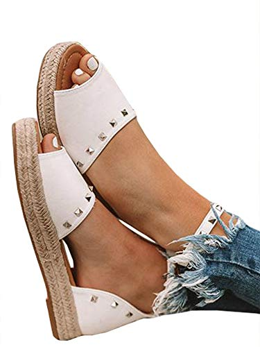 Ruanyu Womens Flatform Espadrille Sandals Ankle Strap Peep Toe D
