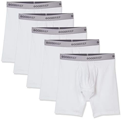 ack Cotton Stretch Long Leg Boxer Briefs Medium White Soft Grey Waistband ()