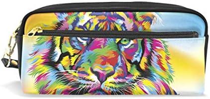 Eslifey Colored Tiger - Estuche portátil de piel sintética para lápices de colores para niños, impermeable, bolsa de cosméticos y maquillaje: Amazon.es: Oficina y papelería