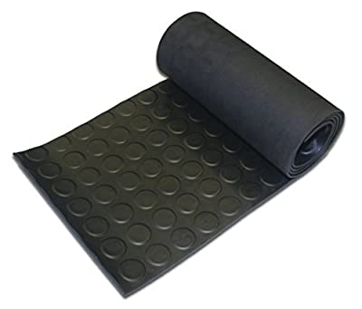 Penny/Stud/Coin Style Rubber Garage Flooring Anti Slip Matting - 7m x 1.2m x 3mm Thick by Thorne