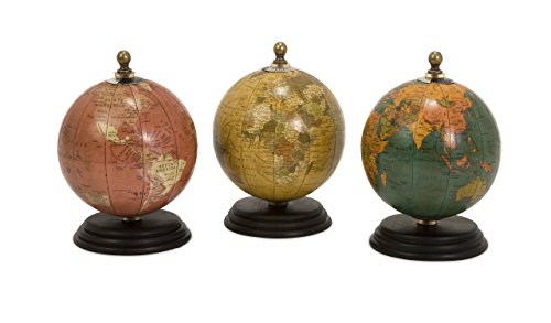 Imax 73027-3 Antique Finish Mini Globe - Traditional Globe, Wooden Base, Antique Finish. Home and Office Supplies