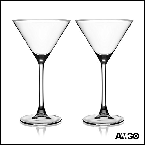 Amgo Top of the Line 100% Crystal Martini Cocktail Glasses, 4.4 oz., Set of 2