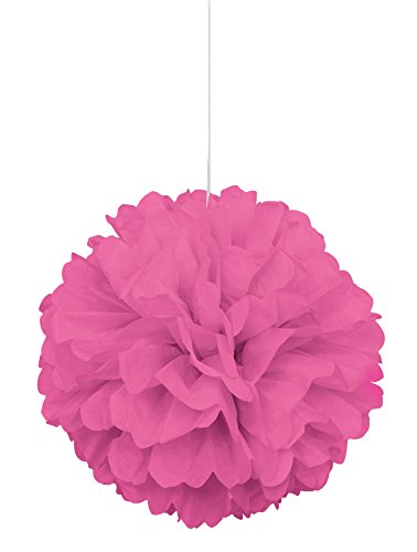 """Tissue Paper Pom Pom, 16"""", Hot Pink"""