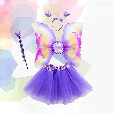 Lisanl - Juego de 4 disfraces de hada, arco iris, mariposas, tres ...