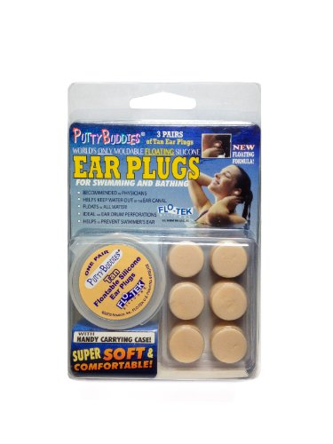 (PUTTY BUDDIES Floating Earplugs 3-Pair Pack – Soft Silicone Ear Plugs for Swimming & Bathing – Invented by Physician – Keep Water Out – Premium Swimming Earplugs – Doctor Recommended (Tan))