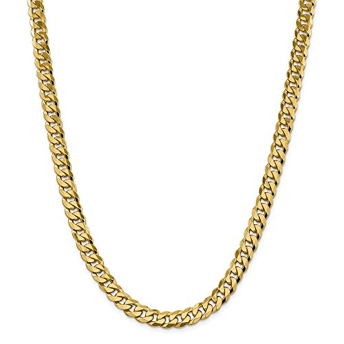 Roy Rose Jewelry 14K Yellow Gold 8.25mm Beveled Curb Chain ~ length: 22 inches (Beveled Necklace 220 Chain Curb)