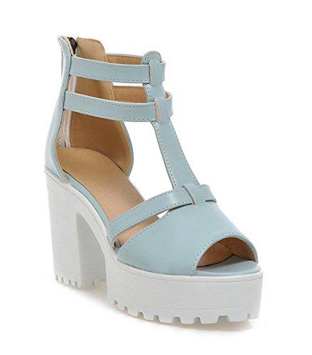 Aisun Kvinners Trendy Comfy T Stropp Peep Toe Plattform Kjole Sandaler Blå