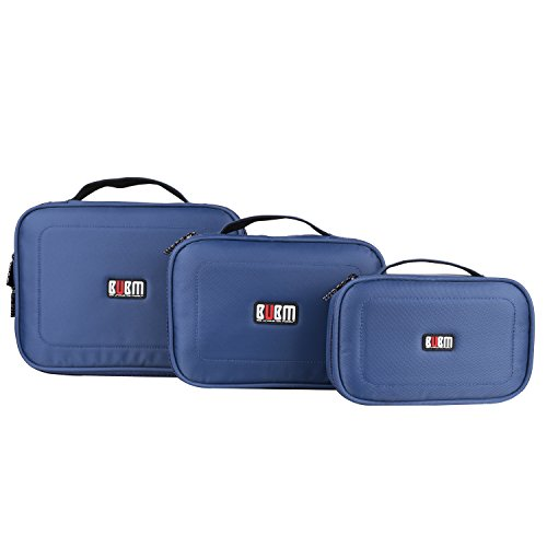 BUBM 3Pcs/set Portable Electronic Accessories Organizer Bag, Travel Gadget Bag for USB Cable,Power Cords,Chargers,Plug,Battery,External Hard Drive,Memory Card by BUBM