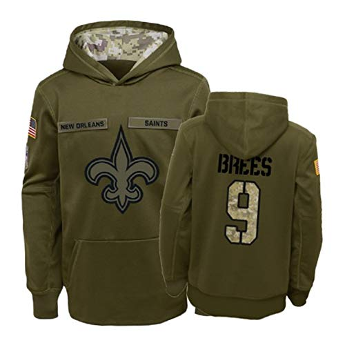 Dunbrooke Apparel New Orleans Saints #9 Drew Brees Salute to Service Youth Hoodie - Olive M (New Orleans Saints Salute To Service Jersey)