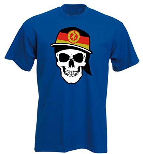 DDR Deutschland - T-Shirt - Skullz Fahne - Totenkopf - blau