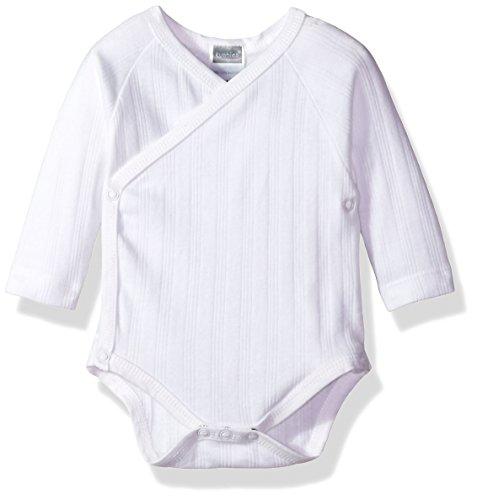Kushies Baby Infant Classics Side Wrap Long Sleeves Bodysuit, White, 1m