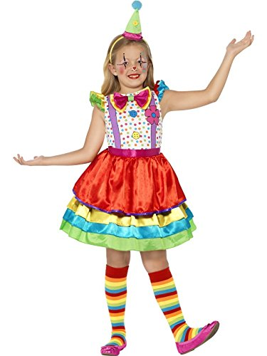 Smiffys Children's Deluxe Clown Girl Costume,  Dress and Hat, Ages 4-6, Size: Small, Color: Multi, 45250 -