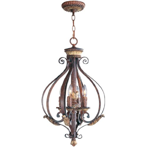 Livex Lighting 8556-63 Villa Verona 4 Light Verona Bronze Finish Foyer Chandelier with Aged Gold Leaf Accents and Rustic Art Glass