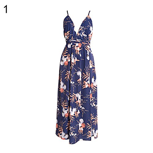 Women Backless Neck Print Summer Bandage 1 s Sleeveless Dresses Beach dds5391 V Floral d1HdxX