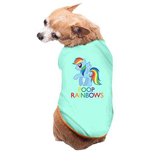 ZULA New Style Rainbow I Poop Rainbows Puppies And Dog Costumes SkyBlue Size M