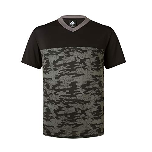 Camo Mens Short Sleeve T-shirt - Asysst Men's Running Sport T Shirts Short Sleeve Athletic Workout Shirts Crew Neck Camo Black L