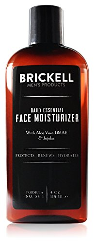 Brickell Men's Daily Essential Face Moisturizer for Men, Natural and Organic Fast-Absorbing Face Lotion with Hyaluronic Acid, Green Tea, and Jojoba, 4 Ounce, Scented (What's The Best Moisturizer)