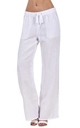 363aae12f5796 Ladies Linen Casual Trousers Holiday Elasticated Waist Womens Summer Pants   Amazon.co.uk  Clothing