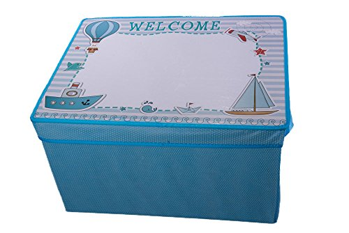 Kid's Blue Collapsible Storage Bin and Play Mat with White B