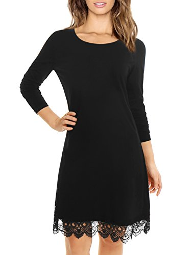 Allegra K Women Long Sleeves Scalloped Crochet Hem Tunic Dress Black XL