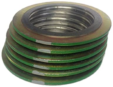 Green Band with White Stripe of NJ Pressure Class 600# Supplied by Sur-Seal Inc Pack of 24 Sterling Seal 9000IR1316PTFE600X24 316L Stainless Steel Spiral Wound Gasket with 316SS Inner Ring and PTFE Filler for 1 Pipe