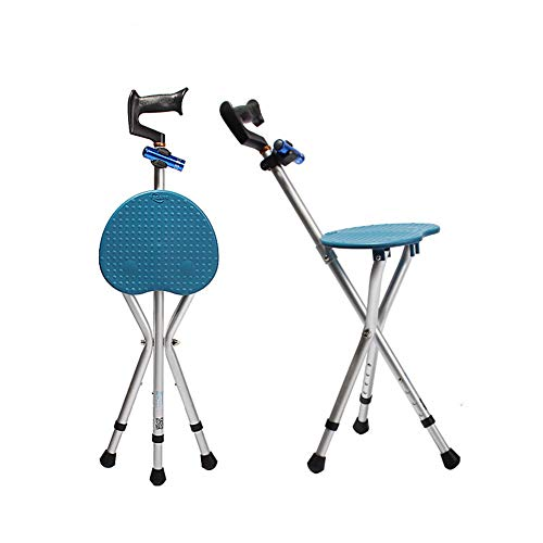 Folding Lightweight Adjustable Height Cane Seat 400 lbs Capacity Thick Aluminum Alloy Cane Stool Crutch Chair Seat 3 Legs Cane Seats Walking Stick Tall with LED Light Unisex for Elderly Blue - Stool Cane Folding