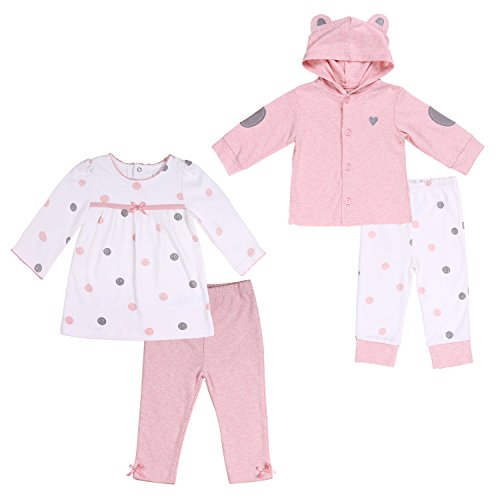 Baby Girl Twin Outfit Hoodie Tunic Top and Pant Set, Pink Polka Dot 18-24 ()