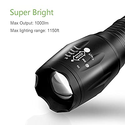 URPOWER Tactical Flashlight Super Bright CREE LED Flashlight Zoomable Tactical Flashlight Rainproof Lighting Lamp Torch -with Rechargeable 18650 2800mAh Battery -For Cycling Hiking Camping Emergency