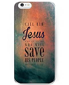 UKASE Hard Back Cover Case for 2014 iPhone 6 Plus ( 5.5 inch ) with Bible Quotes Call Hime Jesus for It Is He Who Will Save His People