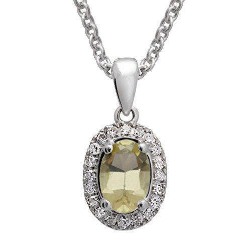 925 Sterling Silver Oval shaped Diamond with Color Stone Pendant Necklace 0.08 ct