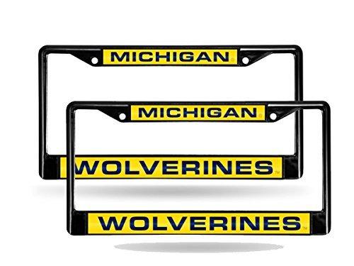Rico Michigan Wolverines Black Metal (2) Laser License Plate Frame Set