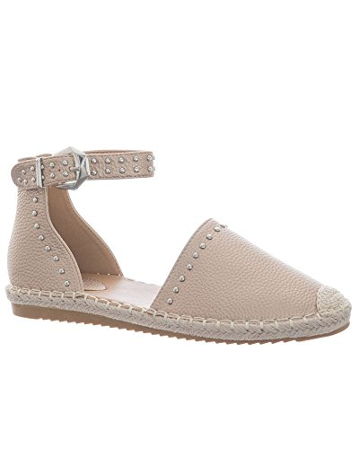 SheLikes New Womens Flat Studded Ankle Strap Sandals Ladies Espadrilles Summer Shoes Rose 62dBFZO7O
