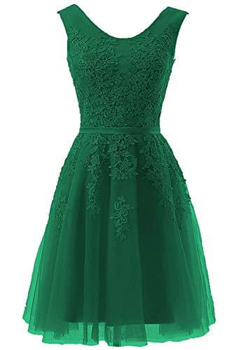 Vert de Femme d'honneur Robe Courte Robe Dentelle Appliques TulleBurgund de soire Chasseur Demoiselle de soire BeiQianE x6qn77