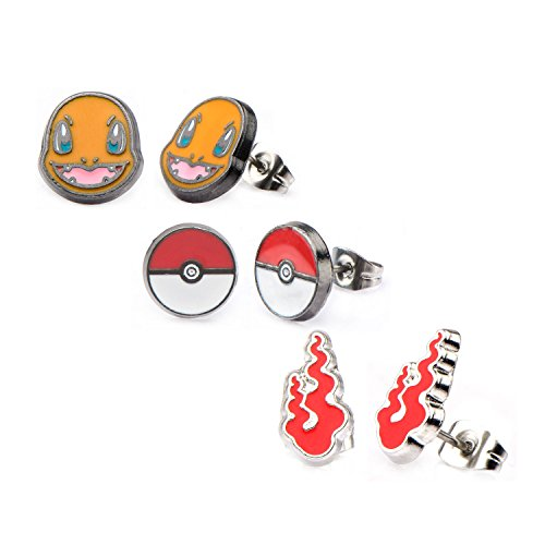 Women's Stainless Steel Pokemon Charmander, Poke Ball and Fire Flame Stud Earrings Set by WWE