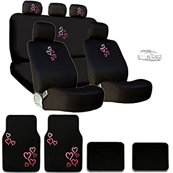 New Multi Pink Red Love Heart Car Seat Covers Steering Wheel Cover Headrest Floor Mats
